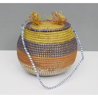 Vintage Woven Coil Basket With Lid Yellow Blue Orange White Boho Preview