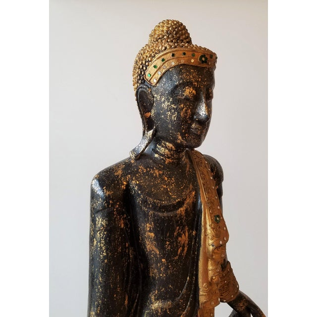 Wood Mid 20th Century Hand Painted Carved Wood Standing Buddha For Sale - Image 7 of 13