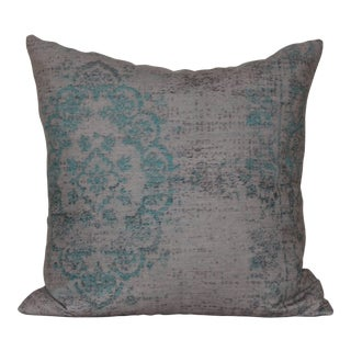Turkish Distressed Turquoise Rug Print Pillow Cover-18''