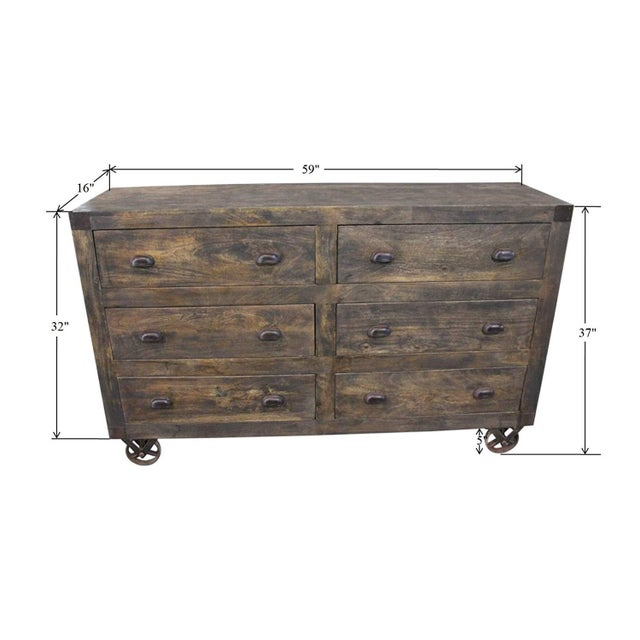 Metal Rustic 6-Drawer Wooden Chest With Wheels For Sale - Image 7 of 8