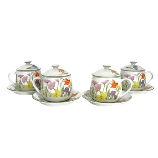 1974 Seymour Mann Day Lily Fine China Pot De Creme With Under Plate - Set of 4 For Sale