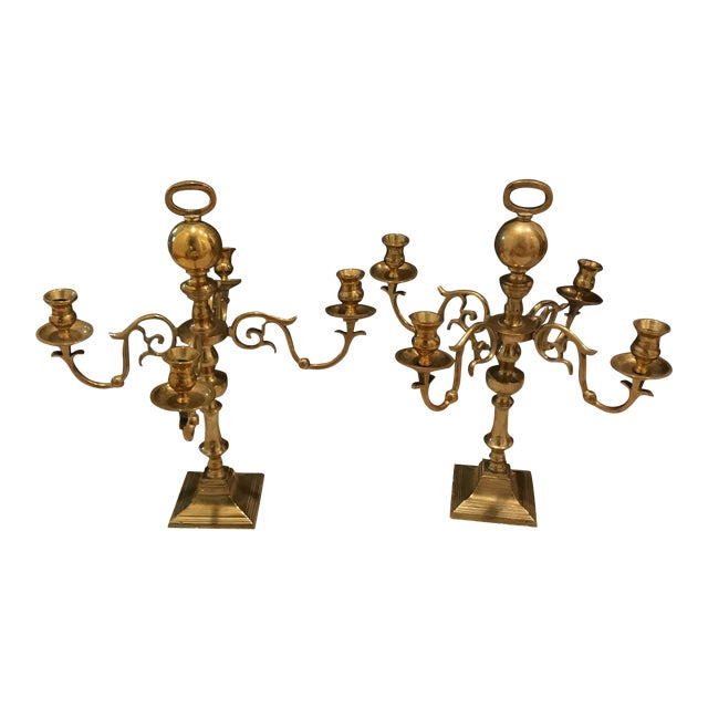 Vintage Estate Scale Brass Candlestick Candleabra - a Pair For Sale