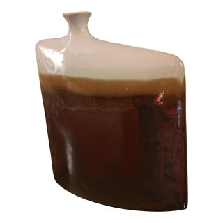 Brown & White Drip Glaze Square Vase For Sale