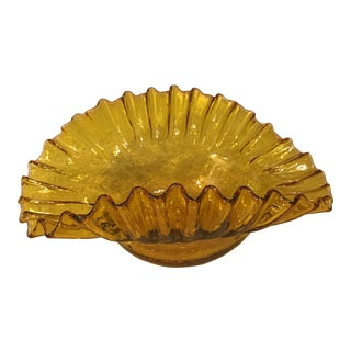 Mid-Century Modern Yellow Ruffle Hand Blown Art Glass Bowl For Sale
