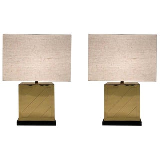 Chapman Polish Brass and Black Lacquer Table Lamps - a Pair For Sale