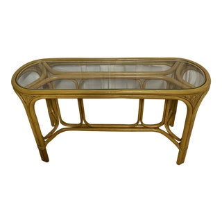 Vintage Tropical Boho Chic Palm Beach Rattan Console Table For Sale