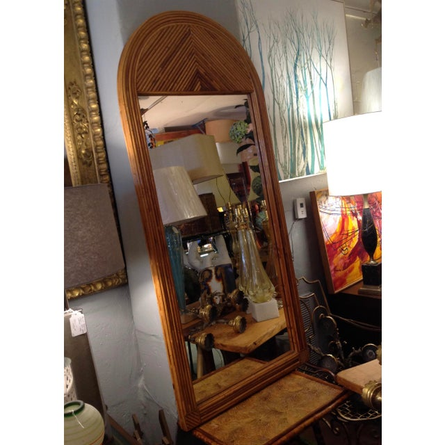 Gabriella Crespi Mid Century Palladian Style Pencil Reed Rattan Mirror For Sale - Image 4 of 10