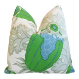 "Image of Designer Michael Szell Carnival Botanical Linen Feather/Down Pillow 21"" Square For Sale"