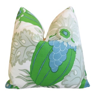 "Designer Michael Szell Carnival Botanical Linen Feather/Down Pillow 21"" Square"