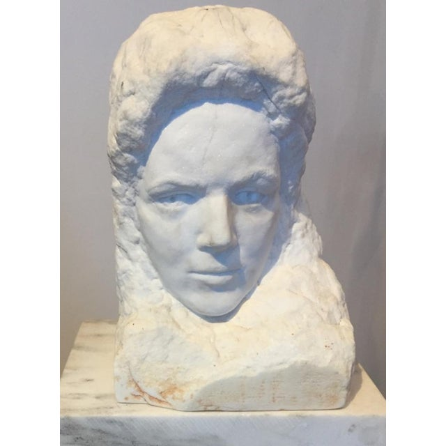 Ethereal hand carved raw and polished marble bust of a woman. Signed on back (unable to decipher). Found in an Albermarle...