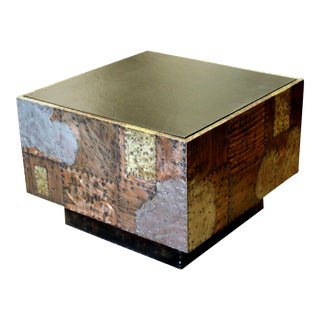 Mid Century Modern Paul Evans Cube Coffee Table Slate Top Copper Patchwork 1970s For Sale