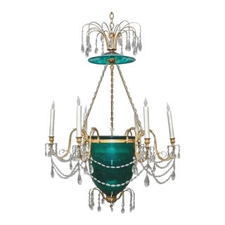 Russian or Baltic Neoclassical Style Emerald Green Six-Light Bell Chandelier