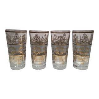 Moroccan Gold & Smokey Quartz Glasses - Set of 4 For Sale