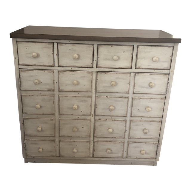 Pottery Barn Shabby Chic Console Table With Drawers For Sale