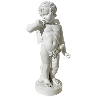 Early 19th Century Bisque Porcelain of Cupid With Arrows For Sale