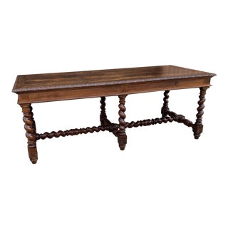Antique French Barley Twist Table Desk Dining Table For Sale