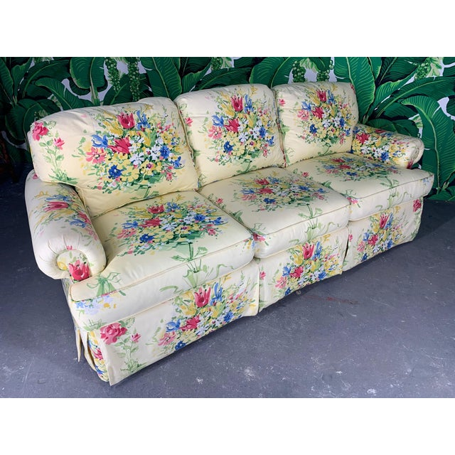 Textile Pair of Floral Upholstered Sofas by Sherrill For Sale - Image 7 of 9