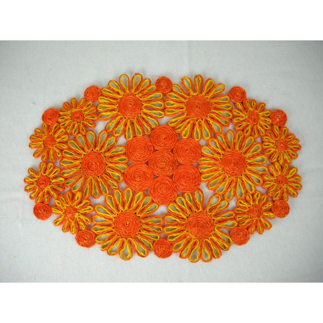 1970s Floral Raffia Placemats - Set of 4 - Image 3 of 9