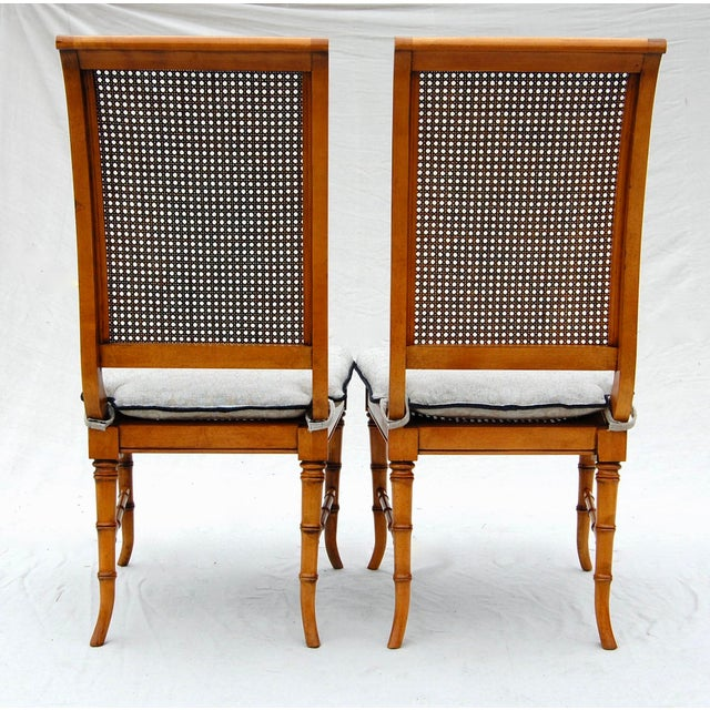 1980s Faux Bamboo Caned Chairs, Pair For Sale - Image 5 of 6