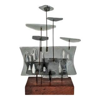 Higgins Style Studio Art Glass Sculpture on Wood Base
