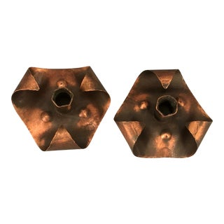 American Arts & Crafts Period Copper Candlesticks - A Pair For Sale