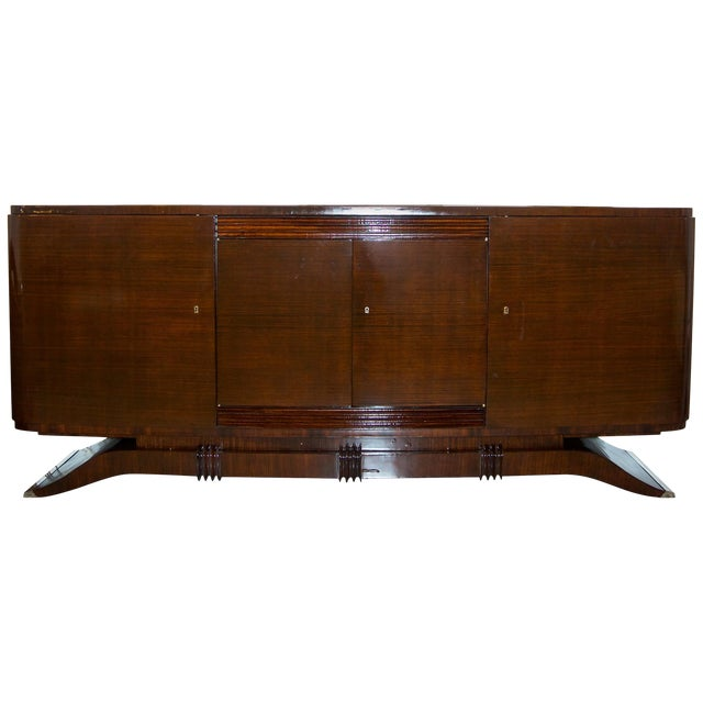French Art Deco Mahogany Buffet Cabinet For Sale