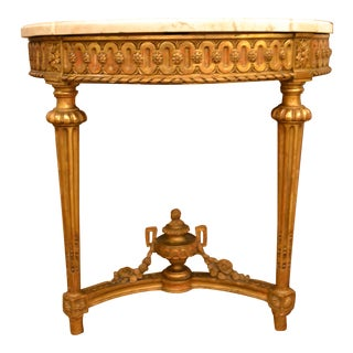 Antique French 19th Century Louis XVI Gold on Carved Wood Console with Original Marble