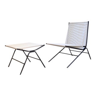 Allan Gould String Chair & Ottoman For Sale
