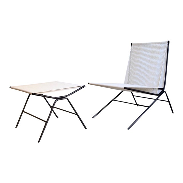 Allan Gould String Chair & Ottoman For Sale
