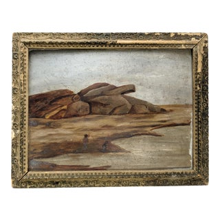 Early Antique Oil Seascape Painting With Men on Shore