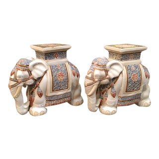 1970s Vintage Hollywood Regency Style Elephant Garden Stools - A Pair For Sale