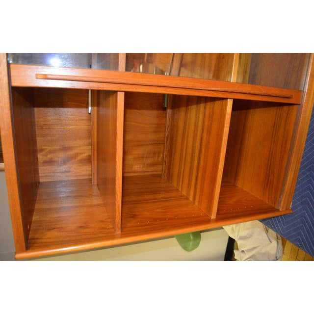 Teak Storage Cabinet, Teak with Glass Doors, Wired for Electronics, Midcentury For Sale - Image 7 of 8