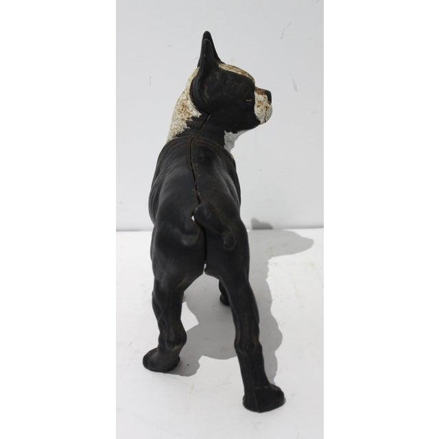 Shabby Chic Vintage Hubley Style Boston Terrier Dog 2-Piece Cast Iron Doorstop Door Stop For Sale - Image 3 of 10