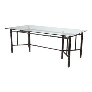 Hollywood Regency Bamboo Dining Table With Glass Top For Sale