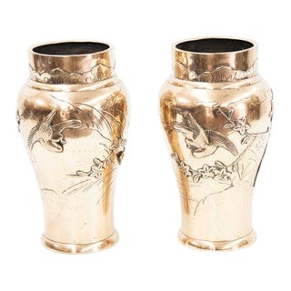 Late 19th Century Brass Japanese Vases with Birds-a Pair For Sale