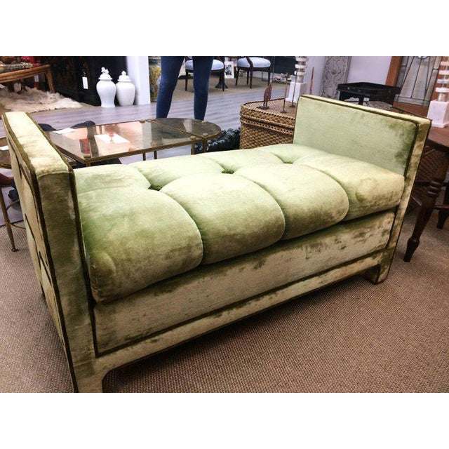 Light Green Velvet Settee Bench - Image 4 of 10