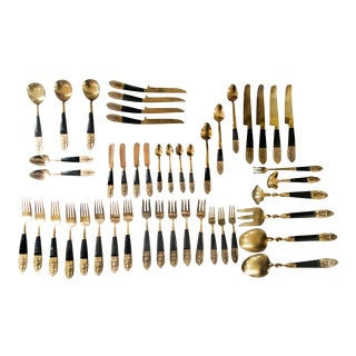 Brass & Ebony Stained Teak Mid-Century Siamese Thailand Buddhist Flatware Set For Sale