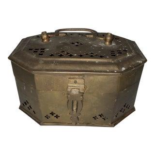 Large Vintage Octagonal Brass Indian Pakistani Cricket Trinket Potpourri Box For Sale