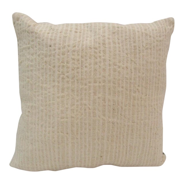 Handmade Beige Turkish Kilim Pillow Cover For Sale