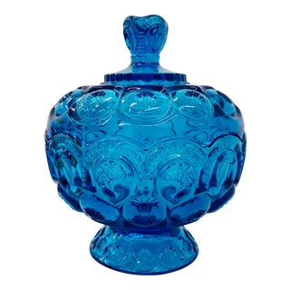 Vintage Fenton Blue Art Glass Covered Candy Dish For Sale