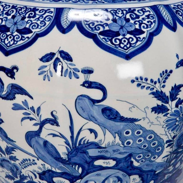 Large Blue and White Chinese Ginger Jar or Dutch Vase with Lid For Sale - Image 5 of 9