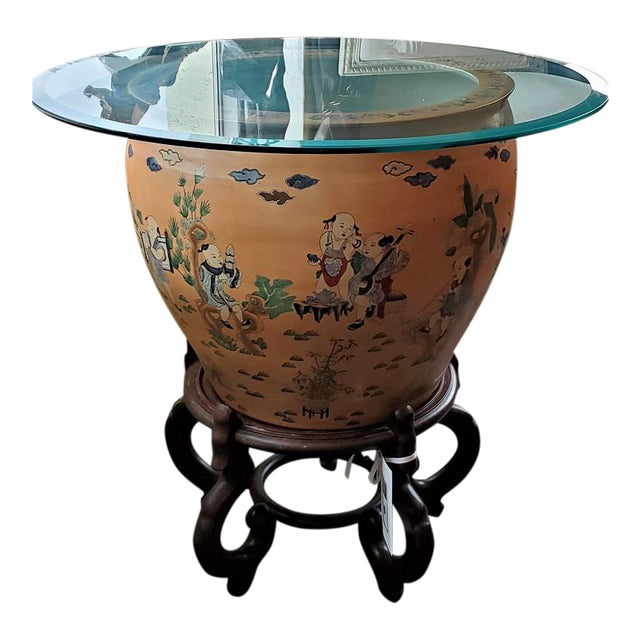 Large Chinese Fish Bowl Side Table With Stand For Sale
