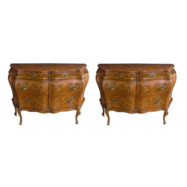 Wood A Shapely and Large Pair of Italian Rococo Style Bombe-Form Chests of Drawers With Cross-Hatched Marquetry For Sale - Image 7 of 7