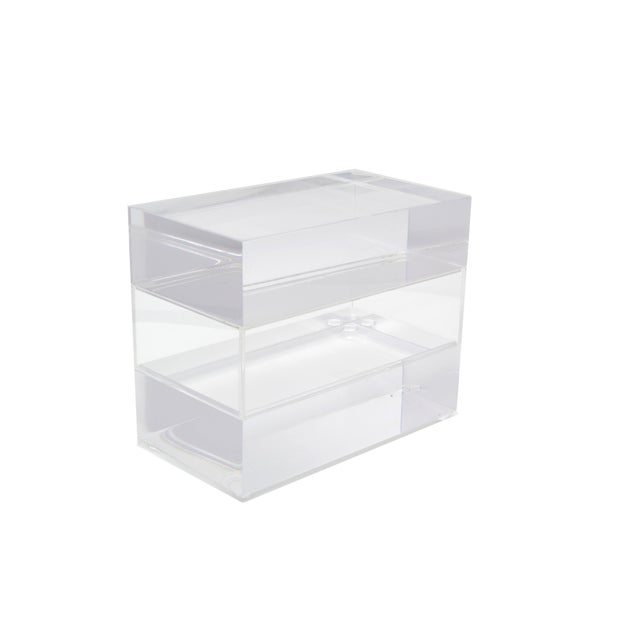 Jewelry Box in Clear Lucite w/ Transparent Center Piece For Sale - Image 10 of 10