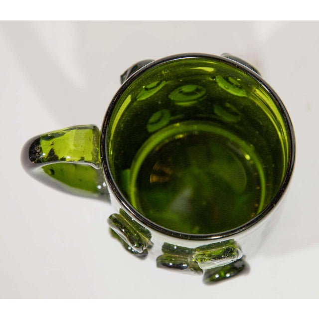 Set of Six Mid-Century Modern Demitasse Mugs in Emerald Glass For Sale In New York - Image 6 of 8