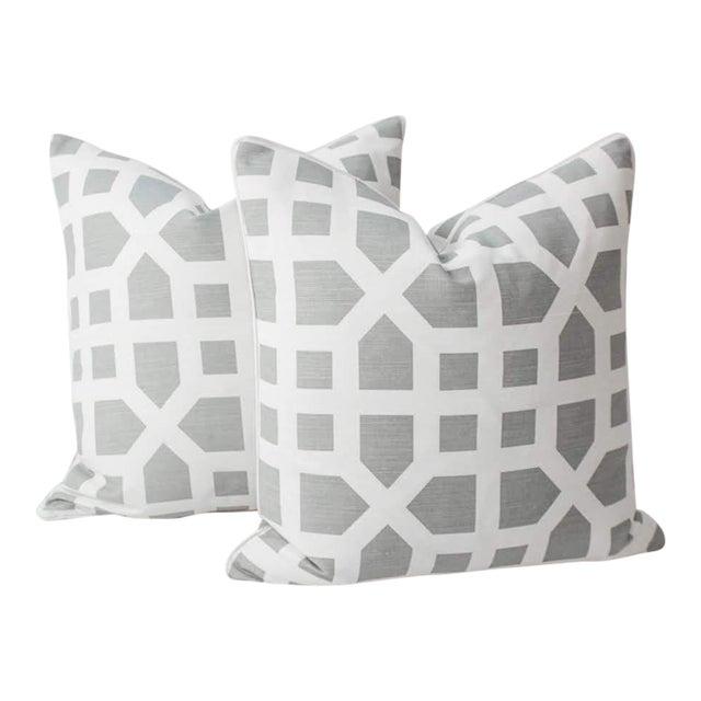 Linen Avignon Trellis Custom Pillows, a Pair For Sale