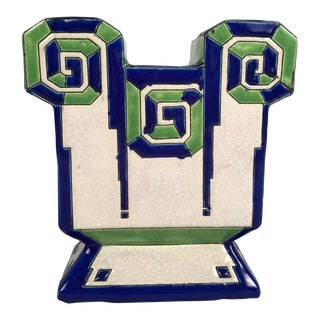 Boch Freres Art Deco Geometric Ceramic Vase For Sale