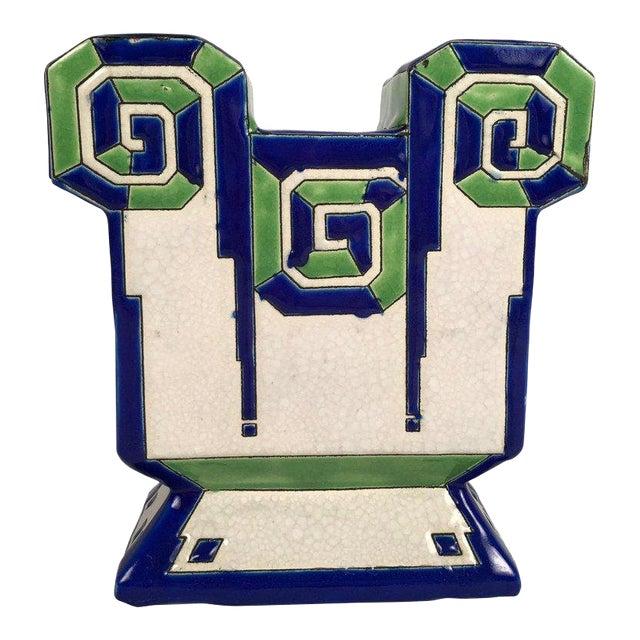 Boch Freres Art Deco Geometric Ceramic Vase For Sale
