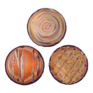 Vintage 1970s Modernist Abstract Round Copper Medallion Wall Hangings - Set of 3 For Sale