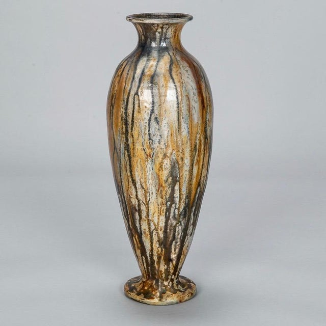 Tall Narrow Signed Roger Guerin Pottery Vase For Sale - Image 4 of 8